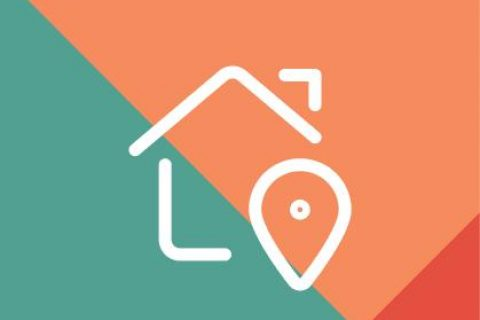 Home location icon on patterned background