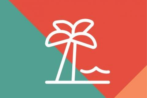 Palm tree icon on patterned background