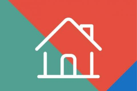 Home icon on patterned background