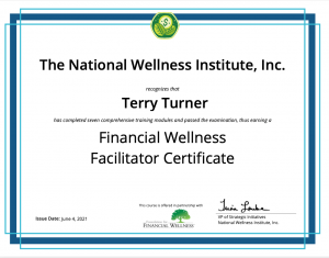 Financial Wellness Facilitator certificate for Terry Turner