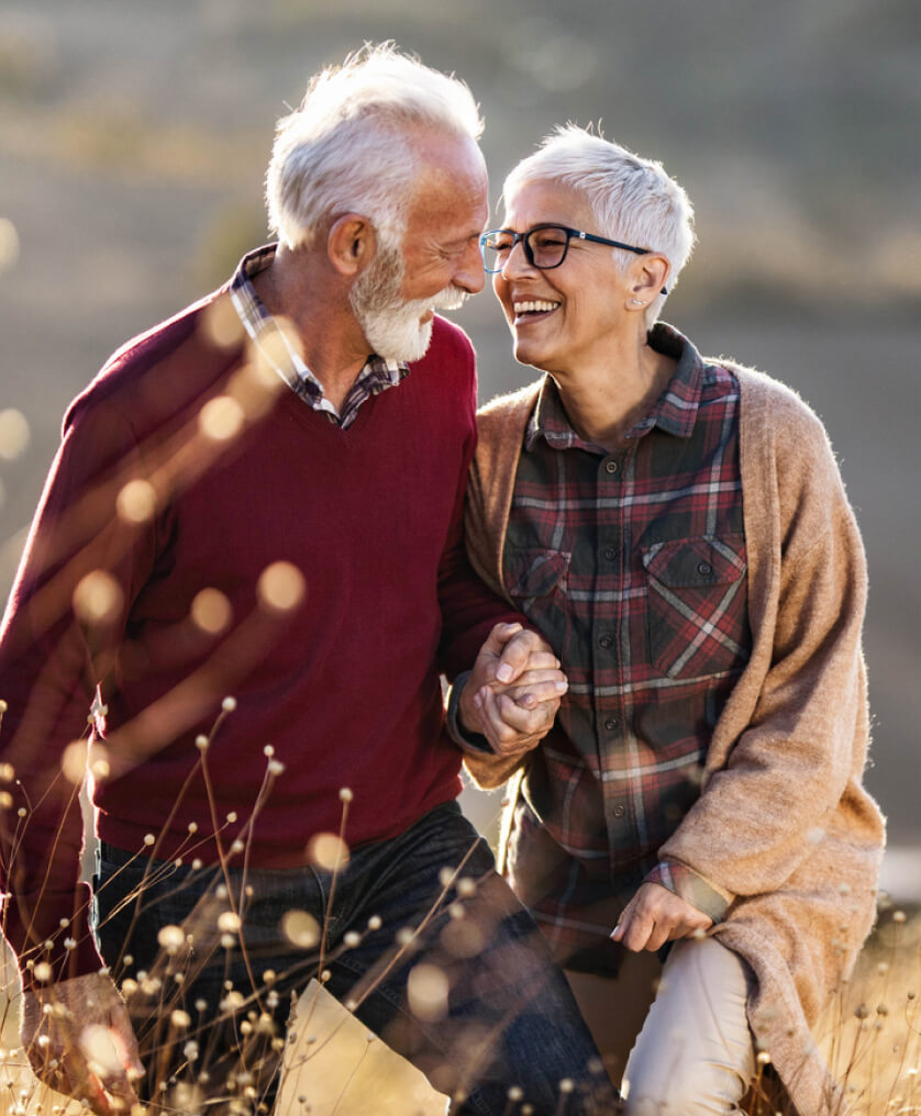 Elderly couple taking a walk together