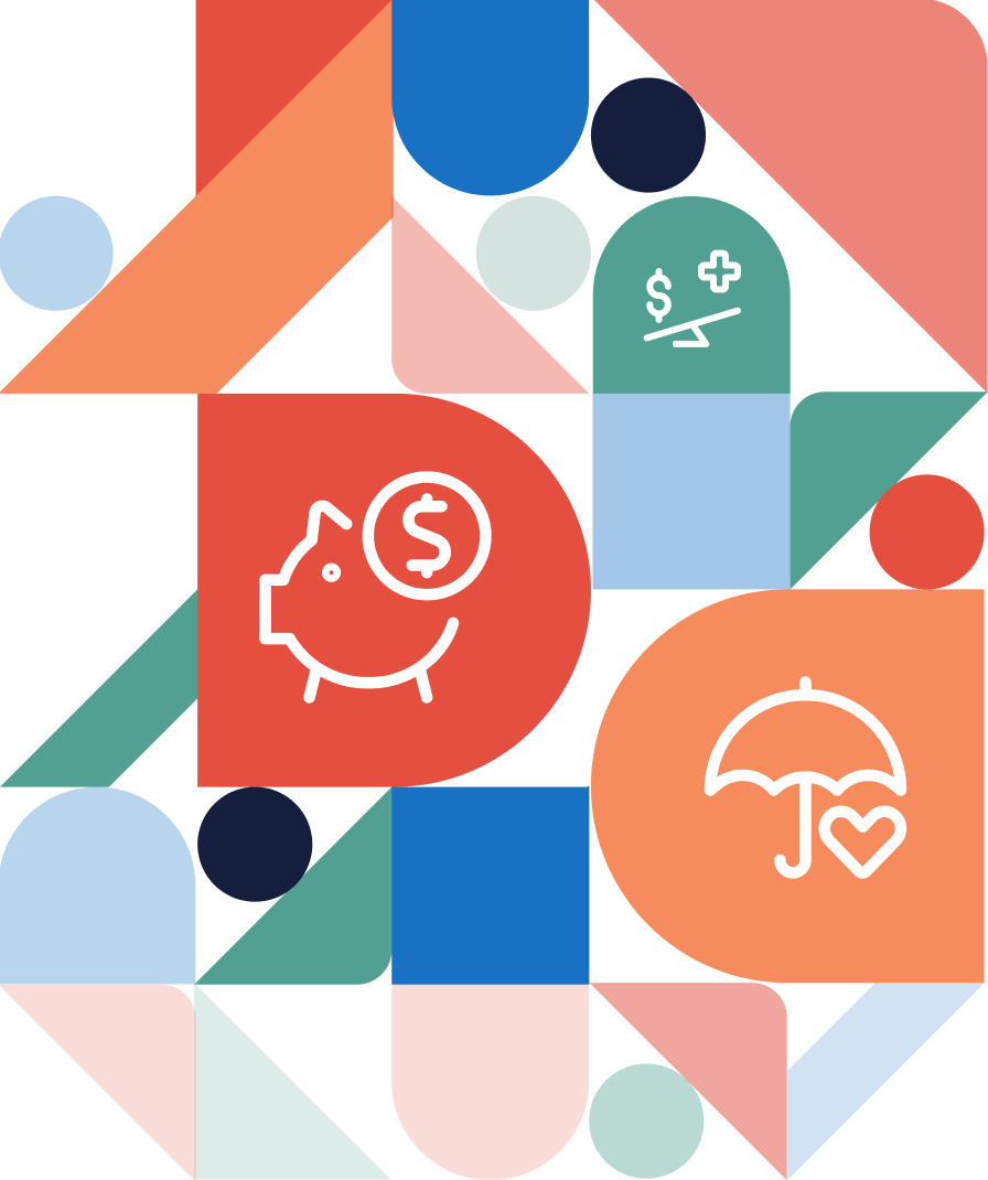 abstract pattern of icons and shapes