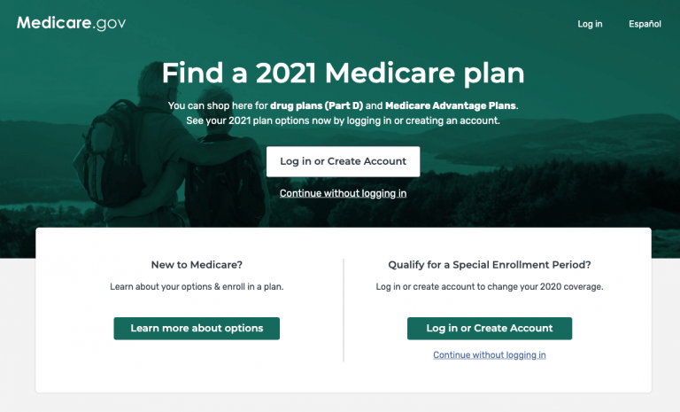 Screenshot of the Medicare Plan Finder tool