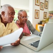 Older couple going over documents together
