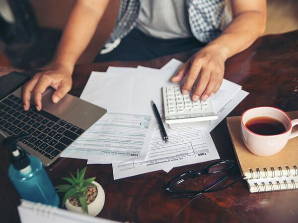 Man working on retirement plan