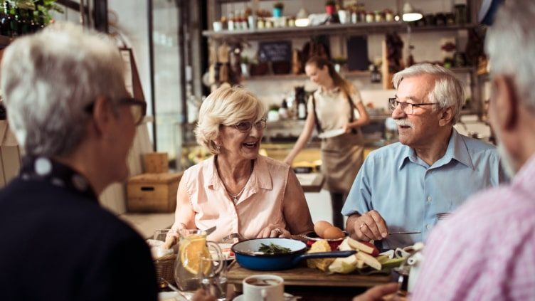 Older couples dining