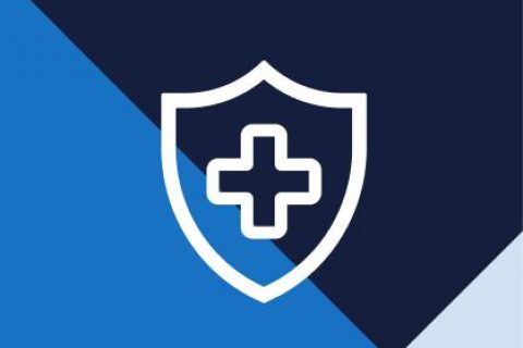 Health shield icon over patterned background