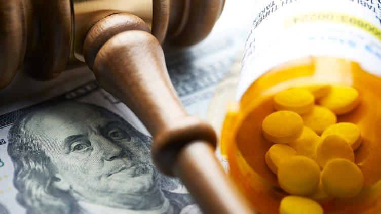 Gavel and prescription pills