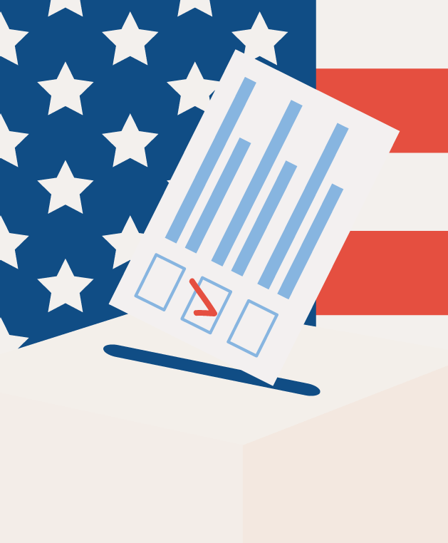 ballot in front of American flag